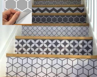 Stair Riser Vinyl Strips Removable Sticker Peel & Stick 15 strips : S005 Gray