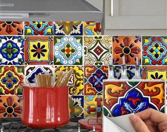 Tile Stickers Vinyl Decal for backsplash Bath Kitchen Floor Waterproof Removable:  Mexican Talavera  TR001