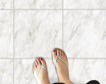 Floor Tile Sticker for Kitchen Bathroom Wall Backsplash Fireplace :  Carrara White Marble