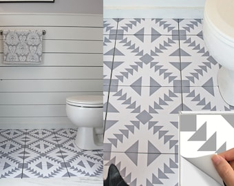 Tile Stickers Vinyl Decal WATERPROOF REMOVABLE for kitchen bath wall floor or stair: W010G gray