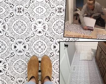 Tile Sticker Kitchen, bath, floor, wall Waterproof & Removable Peel n Stick: A72 Black/White