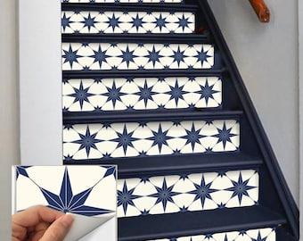 Stair Riser Vinyl Strips 15 steps Removable Sticker Peel & Stick A58N Navy