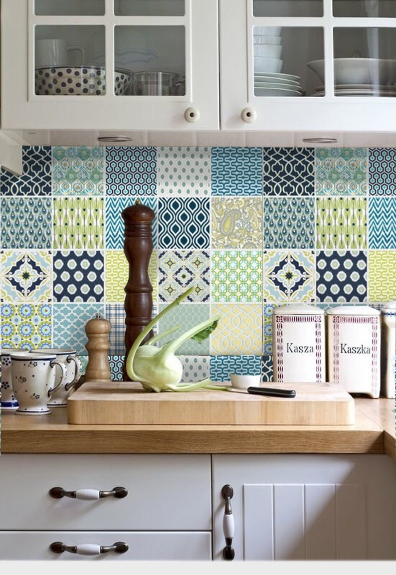 Kitchen bathroom Tile Decals Vinyl Sticker :  Comtemporary Mix image 0
