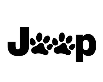 "Jeep Wrangler 2.5"" Tall Jeep Paws Dog Puppy Animal Decal 3M Matte Black"