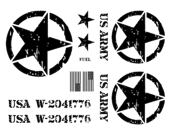 Jeep Wrangler US Army Star Decal Kit 3M Matte Black Custom Text Hood Serial Numbers (9 Fonts Available)