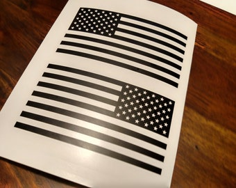 "Set of Jeep Wrangler American Flag Decals 3M Matte Black - 6"" x 3.16"""