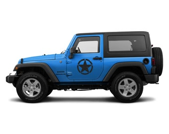 "Jeep Wrangler (2) 16"" Oscar Mike Army Star Door Decal 3M Matte Black"