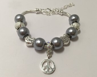 Bracelet charm silver, Grey's with ref 728 peace symbol