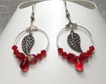 Earrings leaves, red ref 731