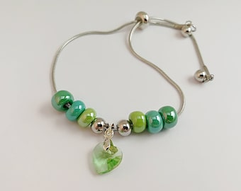 Bracelet adjustable, green, with and more Crystal heart charm 876
