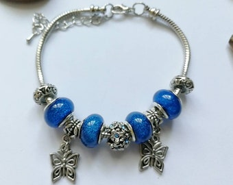 Blue charms bracelet with charms Butterfly reference 979