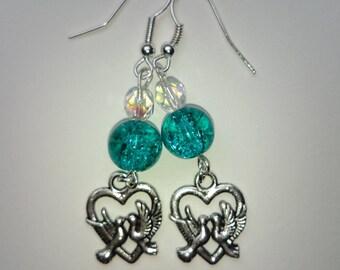Love birds green ref 274 earrings