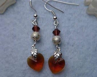 Ref 298 Topaz heart earrings