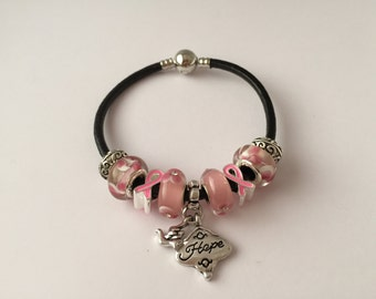 Bracelet charm's pink leather with charm 'hope' collection Ribbon ref 609