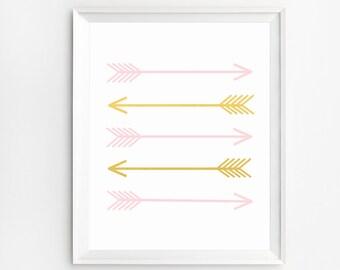 Arrow nursery decor, Arrow room decor, Arrow Art, Pink and Gold, Gold Foil, Arrow Wall Art, Arrow sign, Arrows Decoration, Arrow Print