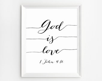 Christian sayings, Bible verse poster, God is Love, Scripture calligraphy, Bible quotes Art, Scripture Printable, Scripture Wall Art