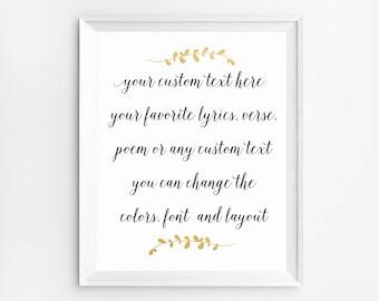 Custom calligraphy quote, Custom word signs, Custom Printable, Custom Wall Art, Personalized Print, Custom Poem art, Custom Quote Print