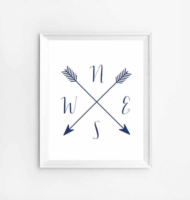 photo about Printable Compass named Arrow Comp, Comp Printable, Comp Print, Cardinal Instructions Artwork, Military services blue wall artwork, NWES Prints, Arrow art, Comp poster