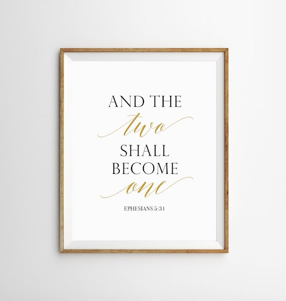 Christian Wedding decor, Wedding bible verses sign, And the Two Shall  Become One sign, Bible verse wall decor, Gold Scripture quotes prints
