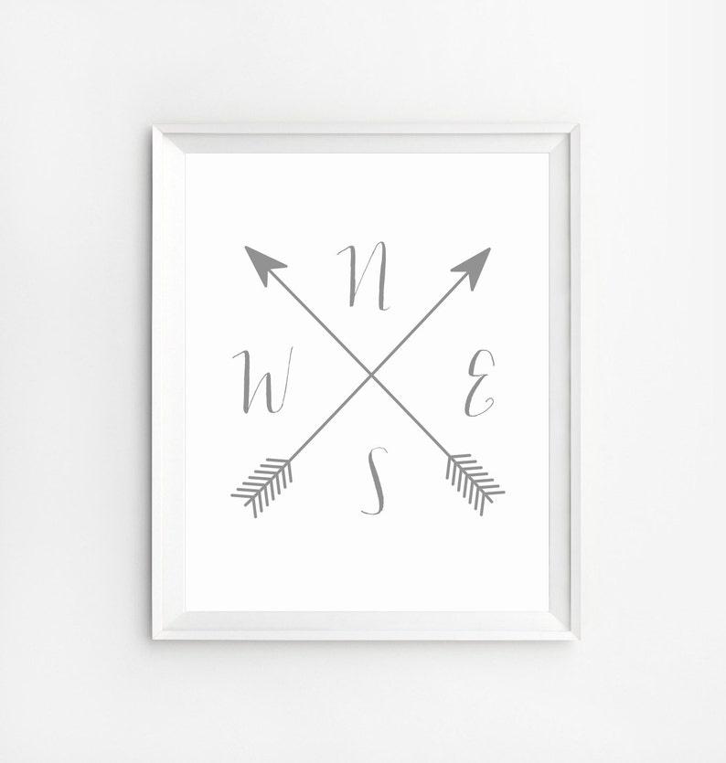image regarding Printable Compass titled Comp printable, Comp Print, Cardinal Guidelines Artwork, Wall Artwork Prints, Arrow Comp, NWES Prints, Arrow art, Comp Wall Artwork