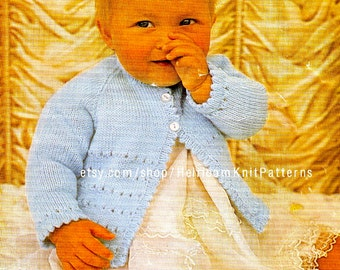 Simple Matinee Coat Vintage Knitting Pattern 18-19'' DK 4Ply QK 3Ply Baby Coat Knitting Pattern Instant Download PDF Pattern - 2109