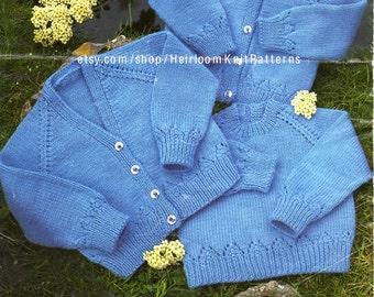Baby Cardigans Sweater Vintage Knitting Pattern DK 4Ply 16-22'' Boy Girl Cardigan Sweater Pattern Instant Download PDF Pattern- 2084
