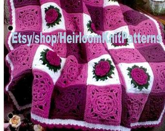 \u2022 Retro \u2022 Granny Square Motif Style \u2022 Watermarked PDF Only Rose Afghan Crochet Pattern \u2022 Vintage 1950s ROSE Bedspread \u2022 Popular Afghan