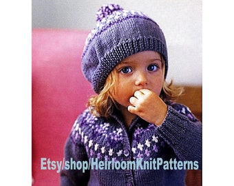 huge discount 12236 78ec7 Baby Child Fair Isle Cardigan and Beret Knitting Pattern PDF Baby Toddler  Children s Boy Girl Pattern 1-5yrs Instant Download PDF - 311
