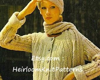 Women's Aran Jacket Hat Scarf Knitting Pattern 33-39'' Aran 10ply Worsted Ladies Knitting Pattern Instant Download PDF Pattern - 140