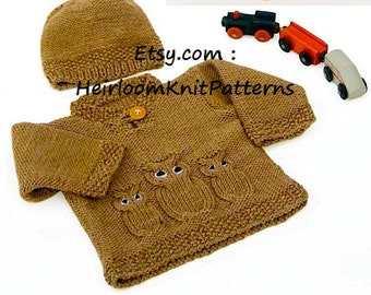 Knit Baby Owl Sweater and Hat Aran Knitting Pattern 14-20'' Aran 10ply Worsted Knit Baby Boy Girl Jumper Set Instant download PDF - 795