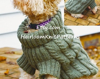 Dog Sweater Knitting Pattern Cosy Cables Dog Sweater Jumper Knitting Pattern Pet Knitting Pattern Instant download PDF - 786