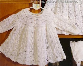 aadb0fb48570 Baby Matinee Coat and Hat Knitting Pattern 16-20   DK
