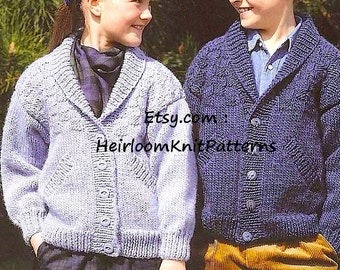 933827aae93c Child Cardigan Chunky Knitting Pattern PDF Easy Knit Vintage