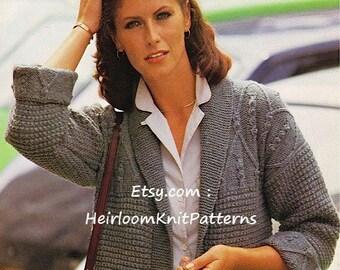 Ladies Jacket with Aran Patterned Yoke Knitting Pattern Aran 10ply Worsted Knitting Pattern Digital Download PDF Pattern - 180