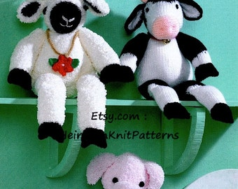 Knit 3 Farmyard Animals: Pig Sheep Cow Pattern Knit Baby Toddler Child Stuffed Toy Animal Toy DK/ 8ply Pattern Instant download PDF - 170
