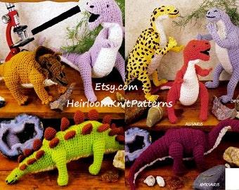 7 Dinosaurs Crochet Pattern Dinosaur Toy Crochet Pattern, Dynamic Dinosaurs Crochet Pattern, Instant download Pattern PDF - 1058