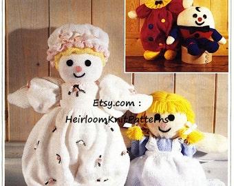 Humpty Dumpty Alice Doll Clown /& Baby Doll Double Knit Knitting Pattern.