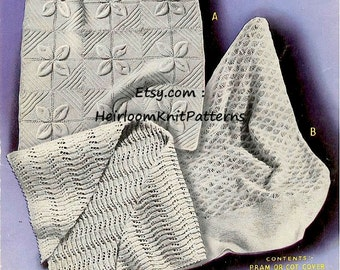 Baby Shawl, Pram or Cot Cover and Head Shawl Vintage Knitting Pattern Baby Knitting Patterns PDF Instant Download PDF - 366