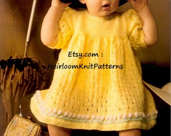 Vintage Baby Knitting Pattern PDF Baby Girls Lacy Dress 3-18 Months Vintage DK 8Ply Baby Dress Knitting Pattern Instant Download PDF - 457