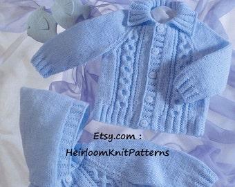 Baby Child Cable Jackets Knitting Pattern PDF Hood Collar Boy Girl Children's Raglan Jacket DK Knitting Pattern Instant Download PDF - 502