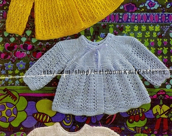 3 Baby Matinee Coats Vintage Knitting Pattern 19-20'' DK/ QK Knitted Baby Boy Girl Coat Pattern Instant Download PDF Pattern - 2077