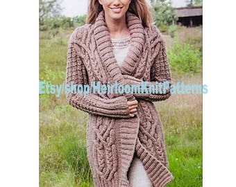 4fa0e4d652c9 Ladies Stunning All-round Cable Jacket Knitting Pattern Chunky  Bulky  Cardigan Robe Coat Knitting Pattern Instant Download PDF - 558
