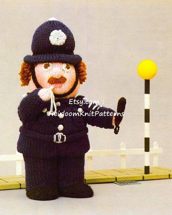Policeman Vintage Knitting Pattern Pdf Stuffed Toy Doll Baby Etsy