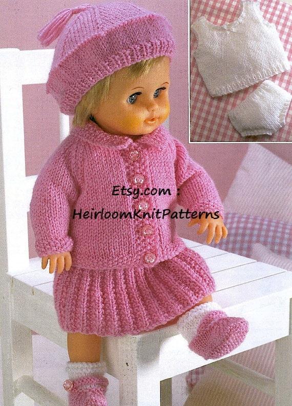 Dolls Knitting Pattern Doll Clothes Dolls Cardigan Skirt Etsy