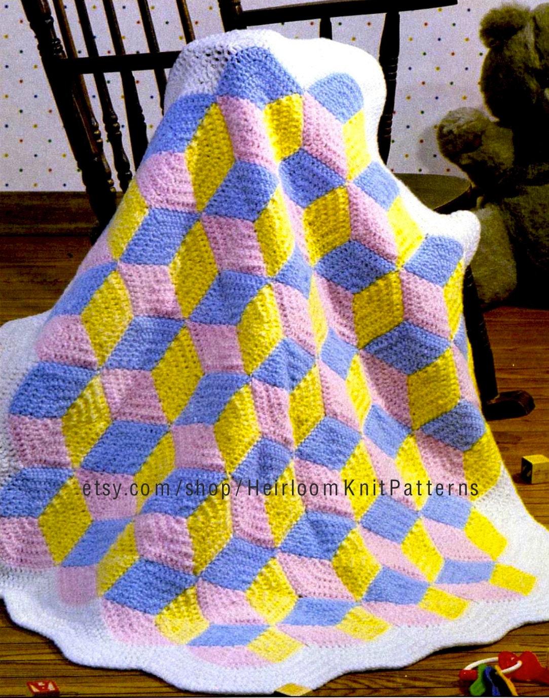 Tumbling Blocks Baby Afghan Blanket Crochet Pattern Pdf Baby Etsy