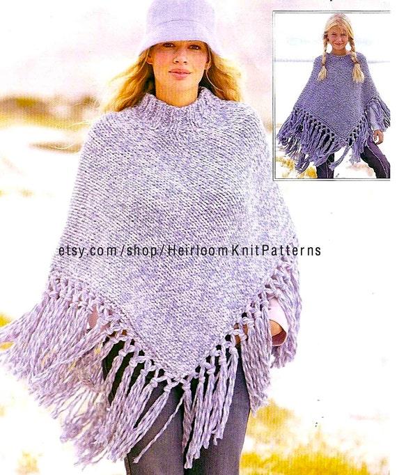 Chunky Poncho Knitting Pattern Girls Womens Poncho Etsy