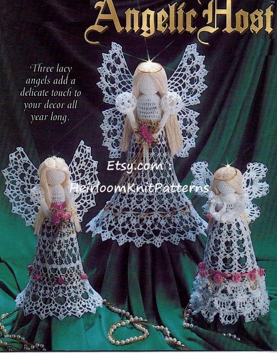 3 Lacy Angels Crochet Pattern Tree Top Angel Christmas Angel Etsy