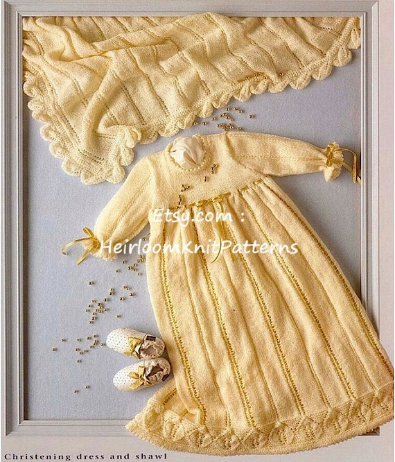 Baby Christening Dress Gown And Shawl Knitting Pattern Baby Etsy