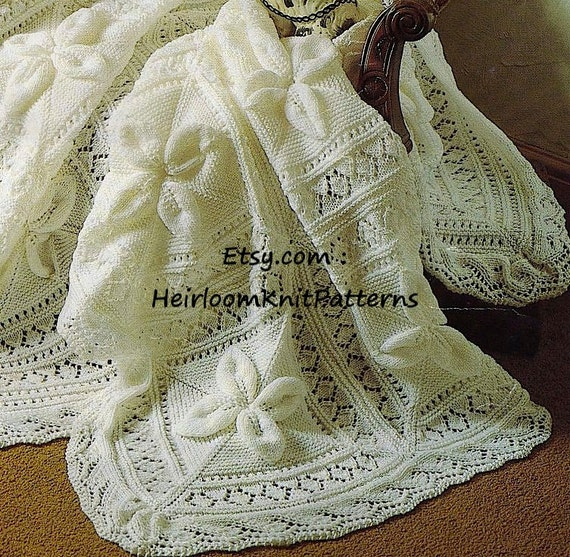 Heirloom Baby Shawl And Cot Blanket Dk Knitting Pattern Baby Etsy