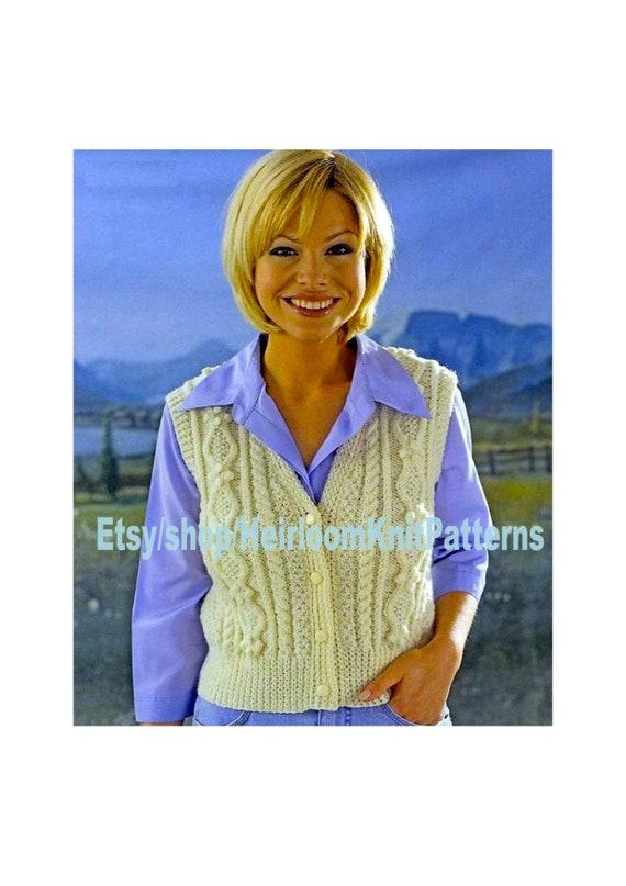 Ladies Girls Aran Waistcoat Knitting Pattern Pdf Etsy